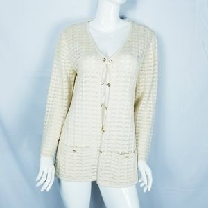 St. John Knit Cardigan Loose Crochet Cream Sz L